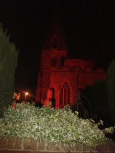 Oadby Church Lit Up Red
